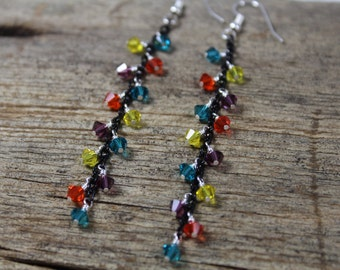 Black Chain Earrings with Turquoise, Orange, Purple, Yellow Swarovski Crystal / Dangle Earrings / Colorful / Gifts for Her / Gifts for Women