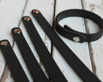 """Stacking SKINNY 1/2"""" Leather Cuff Bracelet - BLACK -Genuine Leather Cuff Bracelet - Cuff Wristband - ONE Cuff Blank - Leather Jewelry Supply"""