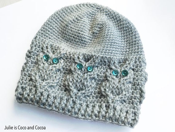 Free Crochet Pattern Owl Beanie : Owl Crochet Hat Pattern