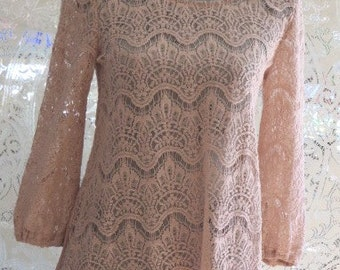 Romantic Rose LACE Tunic TOP  - Embellished with Lace Trim and Flowers  -  Size Small