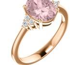 Morganite Ring Diamond Morganite Engagement Ring In 14k Roes gold, 9x7mm gemstone - ST82956