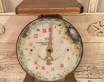 Vintage Kitchen Scale - Rustic Gold Painted Kitchen Scale