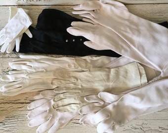 6 Pairs of Vintage Formal Dress Gloves - Great for Brides - Black and White Shades for Weddings or Prom