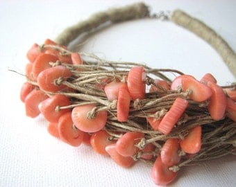 SALMON coral - linen necklace