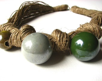 Fern Green - linen necklace