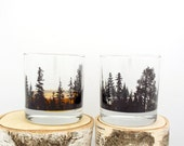 Whiskey Glasses - Forest Landscape - Screen Printed Tumbler Glasses - Set of two 11oz. Tumblers