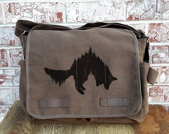 Retro Messenger Bag - Fox and Forest - Cotton Canvas Messenger Bag