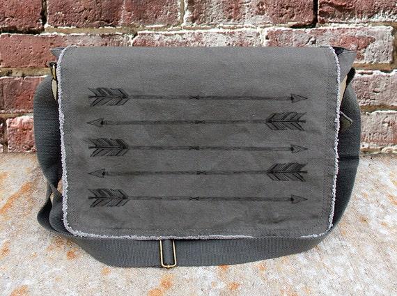 Messenger Bag - Rustic Arrows - Cotton Canvas Messenger Bag