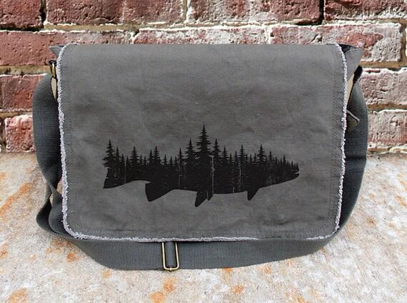 Messenger Bag - Fish and Forest - Screen Printed Messenger Bag