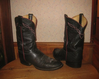 Tony Lama   Black Leather   Cowboy Boots   Made In USA    Mens  8 1/2  D