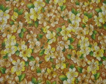 "Vintage Cotton Fabric c.1950's Yellow Floral Print, 37"" Wide, 3 Yards 3"""