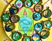 Snake Totem  - Original Art - Bead / Charm / Pendant - Glass Tile - Cathy DeLeRee