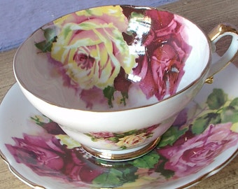 Vintage English Roses teacup and saucer, Stanley tea cup, white Bone china teacup, English tea cup, Pink rose tea cup, Yellow rose tea cup