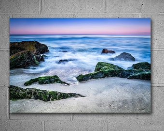 Ocean Sunirse Themed Metal Wall Art, Beach Scene Photography, Choose from available sizes, Ready to Hang large wall art, Blue decor