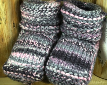 Midnight Dancer with Pink Hand Spun/Hand Dyed/Knit Sheepskin Soled Booties 18-24 Months