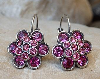 Fuchsia swarovski earrings, Bridesmaid jewelry gift, Flower drop earrings, Fuchsia pink earrings, Pink flower earrings, Rhinestone earrings