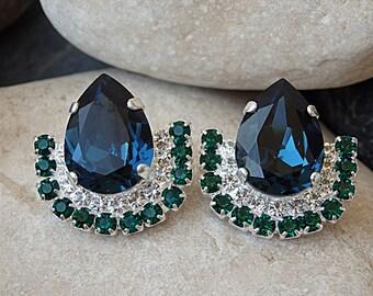 Navy blue Stud Earrings, Swarovski Post Earrings, Green Blue Tear Earrings, Dark Blue Bridal Earrings, Blue Green Bridesmaids Jewelry Gift