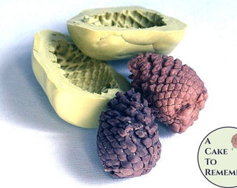 """Two-piece 3D silicone pinecone mold for cake decorating, gumpaste, or polymer clay. About 2"""" tall, good for rustic wedding cake ideas M1016"""