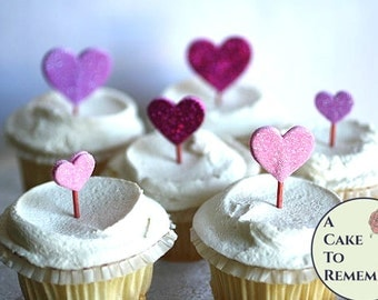 Valentine's day cupcake toppers, 12 assorted pink glitter hearts cake toppers, wedding cake topper,  birthday cakes