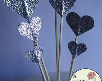 Silver glitter hearts cake topper, wedding cake topper,  valentines cakes, birthday cakes, silver cake decorations.