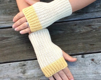 Fingerless gloves, Knit Gloves, Hand Warmers, Wrist Warmers, Texting Gloves, Yellow