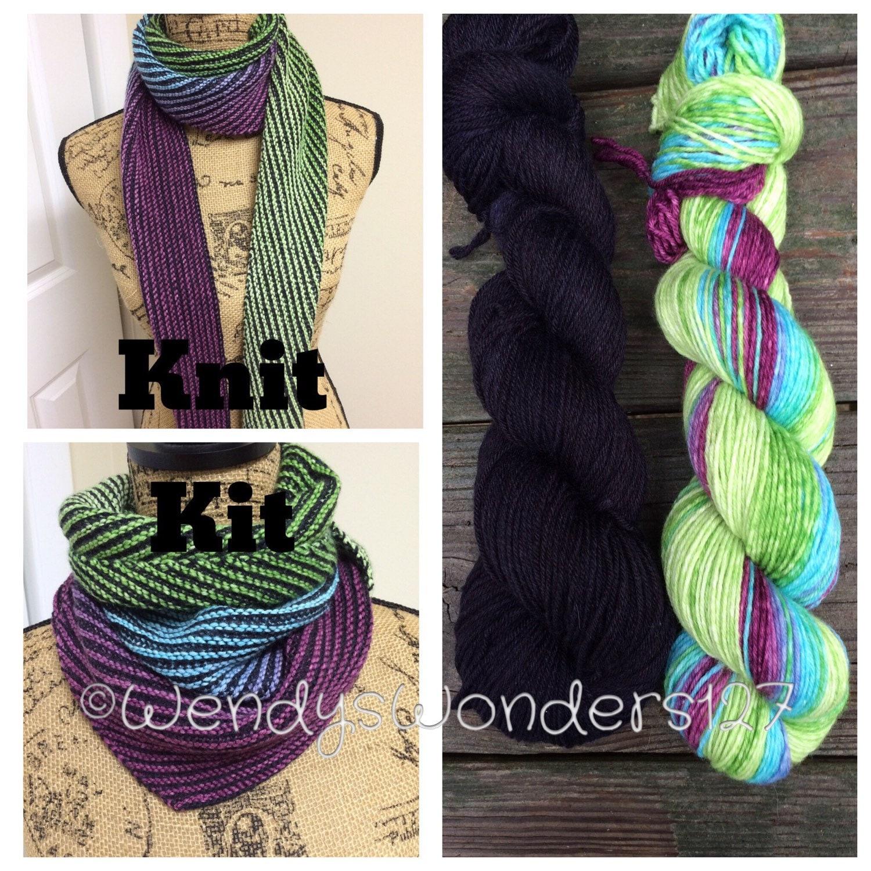 Knit Pattern Kit DIY Knit Scarf Gradient Scarf Kit Knit