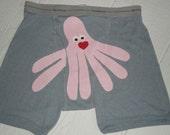 Light blue, Valentino Octopants, the seven legged octopus boxer shorts. Mens underwear. Size medium, Valentines Day