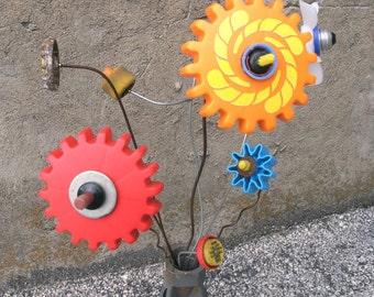 Orange Flower, Junk Flower, Plastic Flower, Whimsical Flower, Flower Art, Porch Decor, Kids Room Decor, Playful, Gardener Gift, Colorful