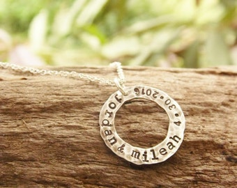Hammered Washer Necklace with Stamped Names and Anniversary Date