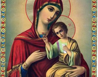 Digital image Virgin Mary Baby Jesus Icon Antique Lithoprint Beautiful colors