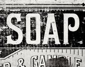 New Rustic Black and White Bathroom Print or Canvas Wrap, Vintage Soap Print for Laundry Room Decor, Rustic Laundry Decor, Country.