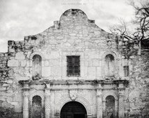 Black and White Alamo Print or Canvas Wrap, Texas Wall Art, The Alamo Picture, Spanish Architecture, Black and White Travel Photography.