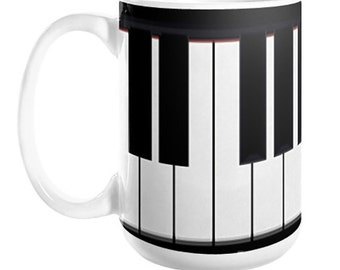 Classic Piano Keyboard Coffee Mug, 11oz or 15oz