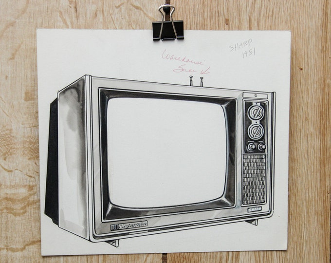 1976 Vintage Television Illustration Sharp Brand | O'Neil's Hand Drawn Graphic Advertising Akron Ohio 1970's Original Pen Sketch Winebrenner