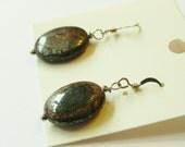 Bronzite oval sterling silver drop earrings.
