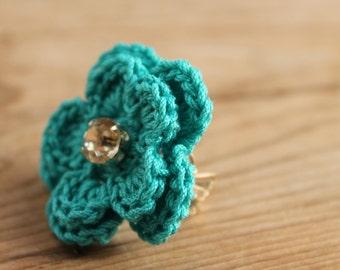 Crochet Ring - Turquoise flower crocheted ring - Delicate Flower Ring - Jewellry crocheted