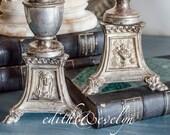 Priest Estate, Pr Sacred Heart Candlesticks, Silver Plate, Tripod Lions Feet, Mary, Alpha Omega