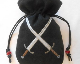 CROSSED SWORDS - Heavy Faux Suede Machine Embroidered Drawstring Pouch - Dice Bag, Tarot, Wristlet