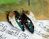 Hand embroidered, colorfull, chunky, elegant, glam, sparkling, fabric earrings - Untold stories
