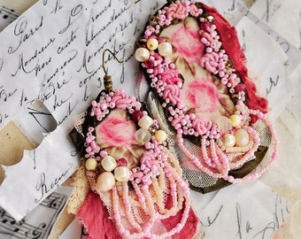 Oversized, Statement, fabric textile,hand embroidered, floral, flowers, romantic, embroidered, large , lightweight earrings - Roses are pink