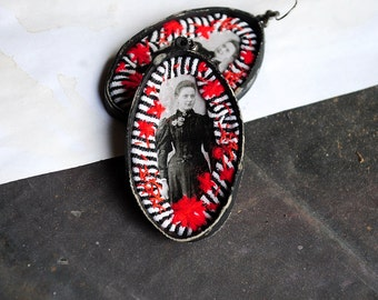 Statement, fabric textile, mixed media, hand embroidered, romantic, antique vintage like victorian large earrings - The goth lady