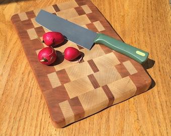 Maple, Cherry & Mahogany  End Grain Cutting Board - Handmade