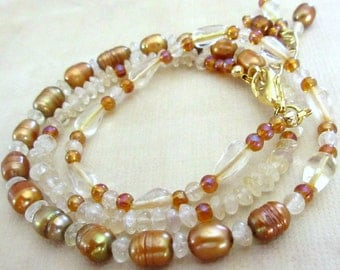 Freshwater Pearl/Glass Champagne Cream Bead Wrap Bracelet, FREE SHIPPING, Triple Wrap, Freshwater Pearls Jewelry, Bracelet