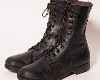 Men's Black Combat Boots Size 10 R