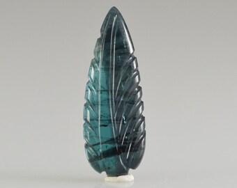 Indicolite Blue Tourmaline Hand Carved Leaf