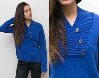 Royal Blue Chunky Knit Sweater / Ribbed 90s Grunge Grandpa Sweater Oversized Slouchy Knitted jumper Blue / Loose Pullover women small medium