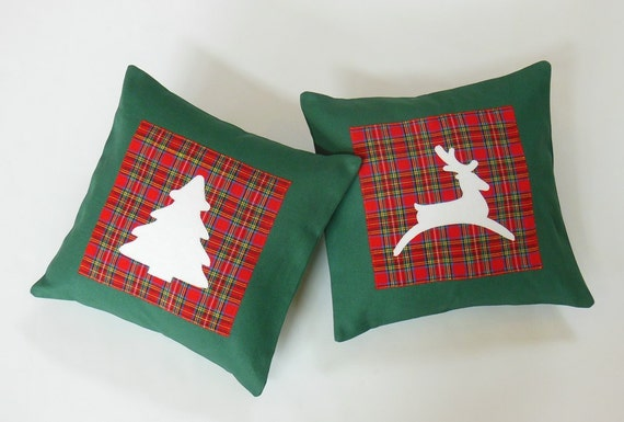 Green Red Plaid Christmas Tree Throw Pillow
