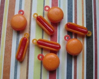 SALE - 8 Hotdog and Hamburger Charms - C2390