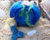 Mermaid in her Undersea Grotto - felted in the Waldorf style