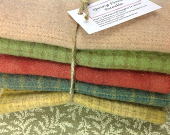 Soft Summer Medley, 5) Fat Eighths, Wool for Rug Hooking and Appliqué, W139, Gold, Blue, Pink, Green, Blush